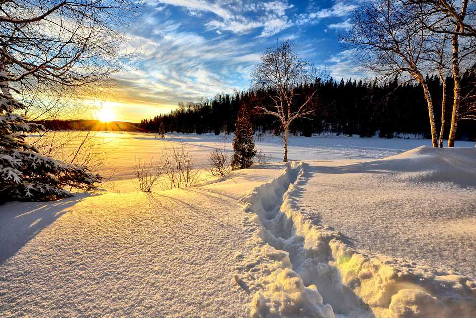 Winterlandschaft Sunset - Poster and Wallpaper Download