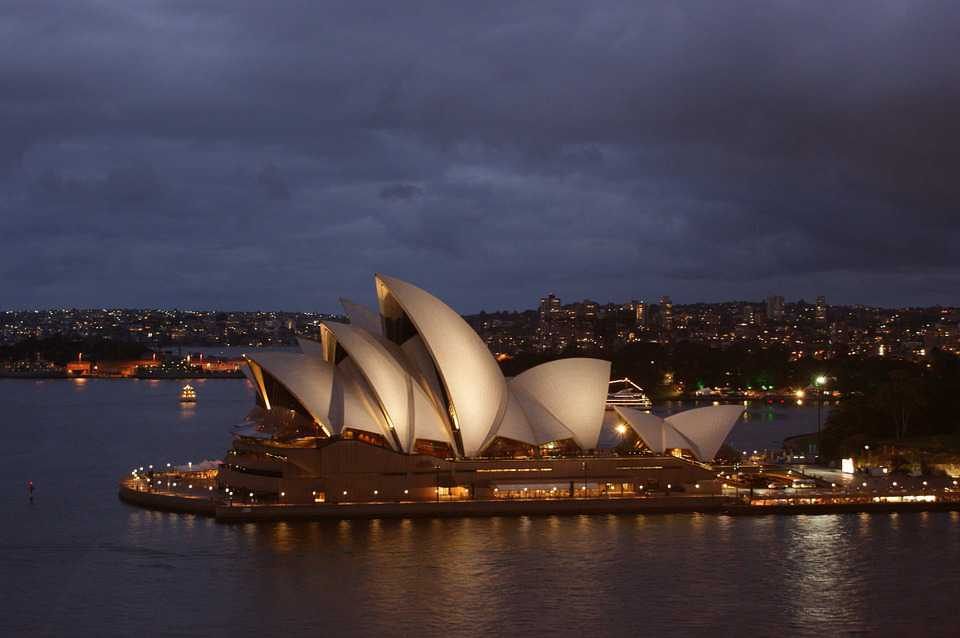 Sydney Opera House Night Harbor - Poster and Wallpaper Download