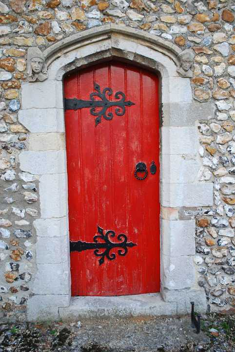 Door Red Church Entrance Old Architecture - Poster and Wallpaper Download