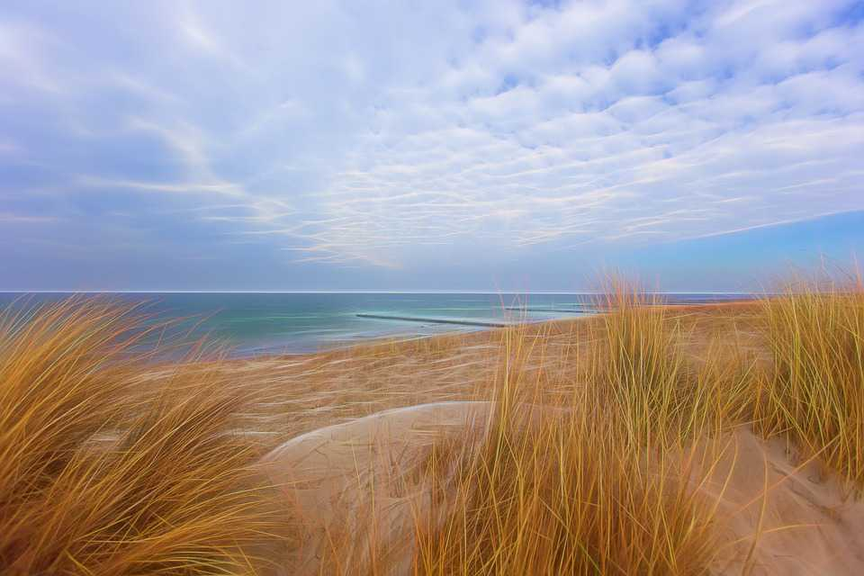 Ostsee Beach Deich Sea Water - Poster and Wallpaper Download