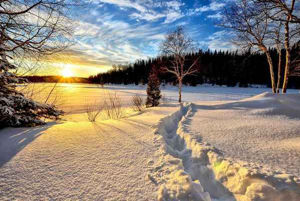 Poster Winterlandschaft Sunset
