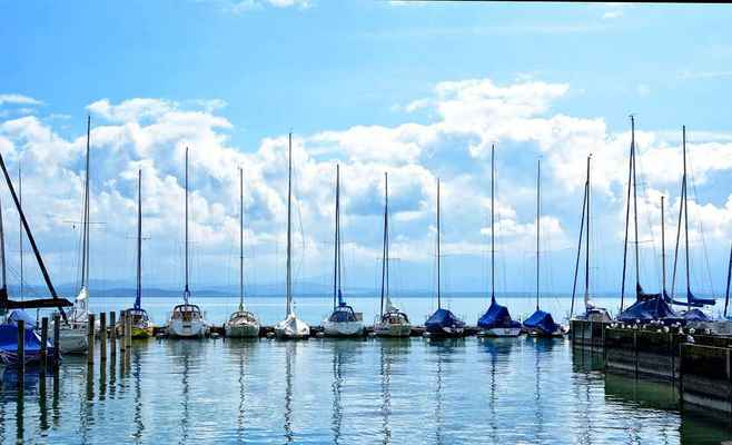 Poster Sailing Boats Port Boat Masts Lake Chiemsee