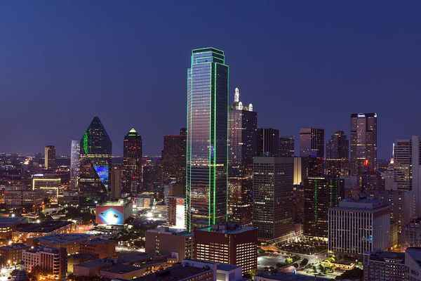 Poster Dallas Skyline Cityscape Dusk Texas Twilight Sunset Download