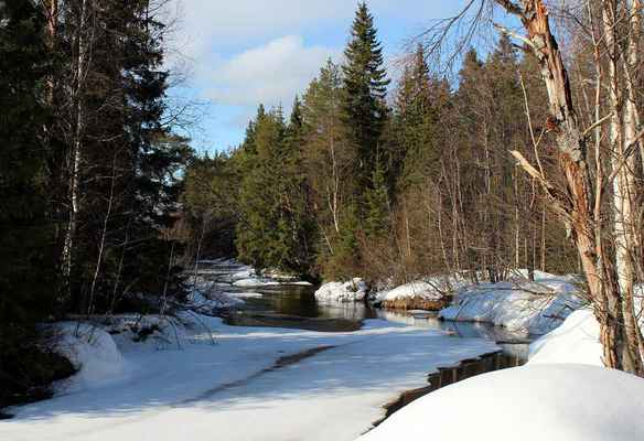 Poster Finland Winter Snow Ice Stream River Pond Download