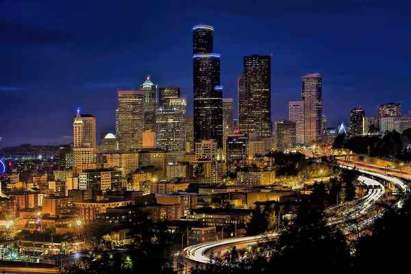 Poster Skyline Downtown Seattle Cityscape Urban Blue Hour Download