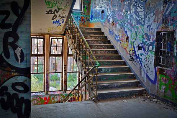 Poster Lost Places Factory Stairs Pforphoto Staircase Graffiti Download