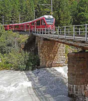 Poster Switzerland Bernina Railway Bridge Glacier Flow Morteratsch