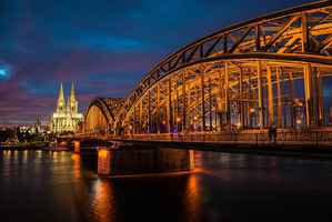 Poster Cologne Rhine Light Water Skyline Hohenzollern Bridge