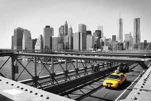 Poster New York Taxi Schwarz-Weiß Skyline Manhattan Bridge Ny