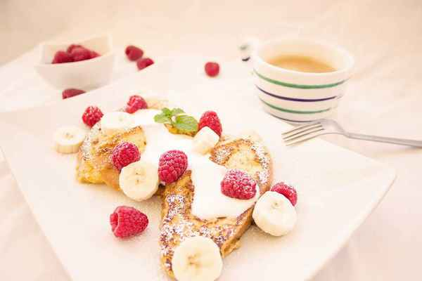 Poster Toast Berries Breakfast Banana Coffee Eat Fruits