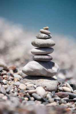 Poster Balancing Stones Beach Stacked Sea Summer Stone Download