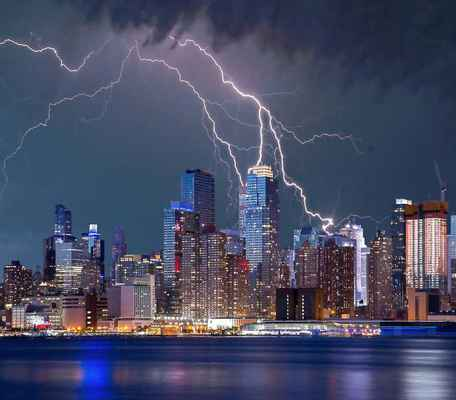 Poster New York Gewitter Blitz Sturm Sky City