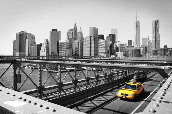 Poster New York Taxi Schwarz-Weiß Skyline Manhattan Bridge Ny Download