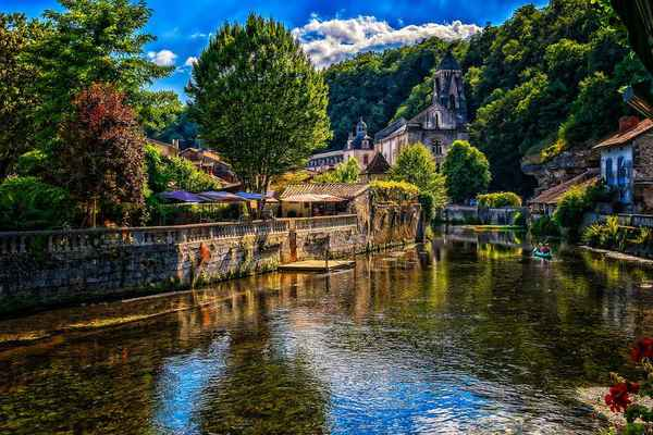 Poster Fluß Idylle City France Brantome Romantisch Stimmung Download