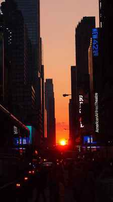 Poster New York Manhattan USA Evening Sunset Manhattanhenge